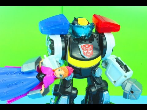 Transformers Rescue Bots Chase the Police Bot Saves Disney Frozen Princess Anna Just4fun290