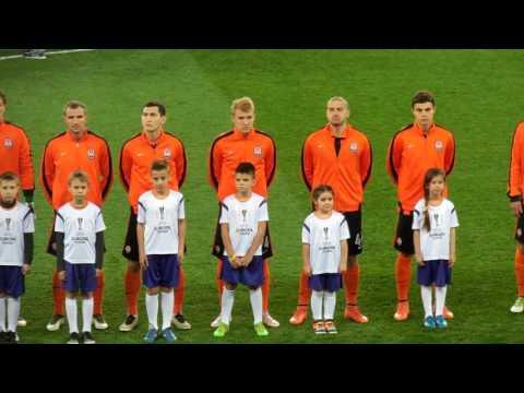 Выход игроков на поле и гимн Лиги Европы