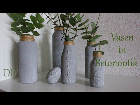 DIY | Vasen in Betonoptik | aus Altglasflaschen | Upcycling | Just Deko