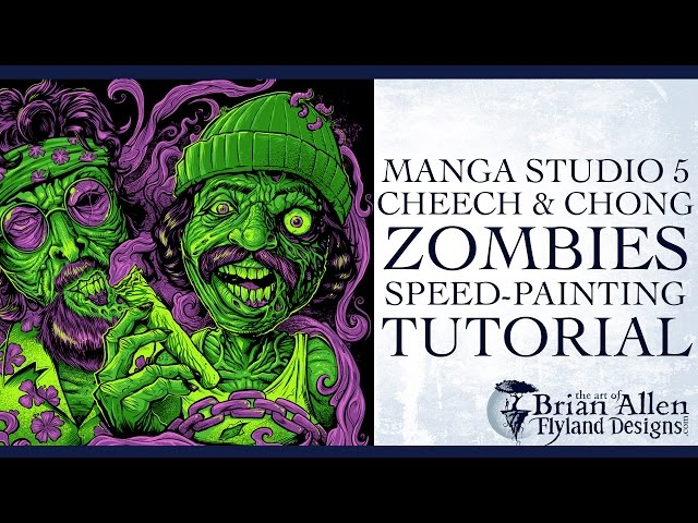 Cheech And Chong Zombies T-Shirt Manga Studio 5 speed painting tutorial