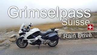 BMW K1200RS Driving Grimselpass Switzerland. Rain,rain,rain