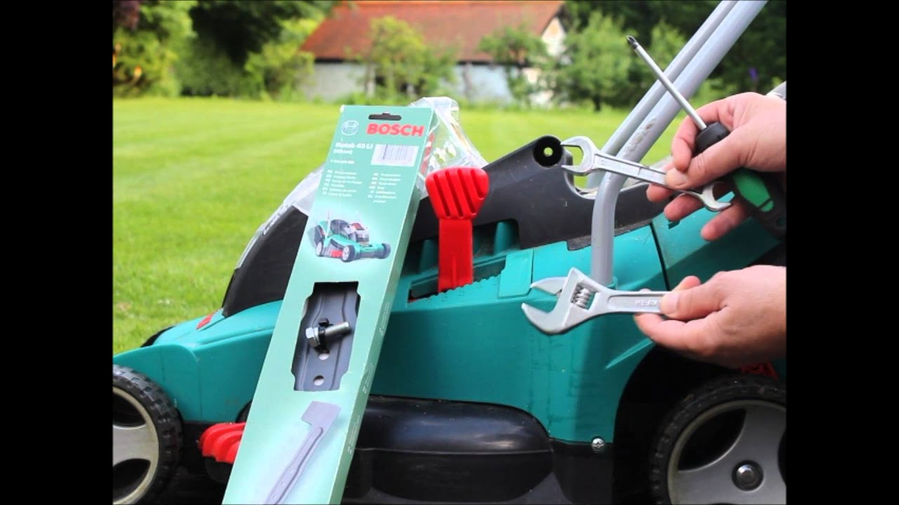 how to replace change blade of bosch rotak cordless electric lawn mower 43 40 37 34 32. Black Bedroom Furniture Sets. Home Design Ideas