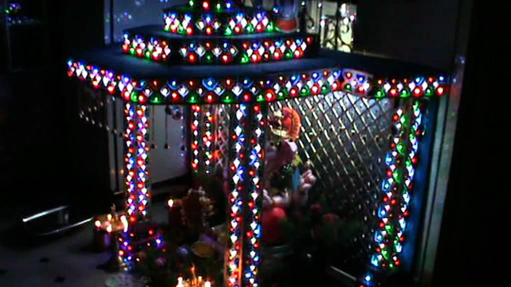 Home Ganesh Decoratoin With Led Lights Rohit Yadav Hyderabad Youtube