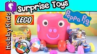 HUGE Lego Peppa Pig SURPRISE Toys + Play-Doh DC SuperHero Blind Bags HobbyKidsTV