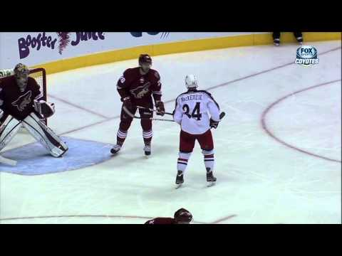 Chris Summers vs Derek Mackenzie fight Feb 16 2013 Columbus Blue Jackets vs Phoenix Coyotes NHL
