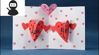 Happy Valentine's Day Card - DIY Pop Up Heart Card Step by Step New 2018