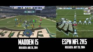 Madden 15 vs ESPN NFL 2k5 Full Gameplay Comparison