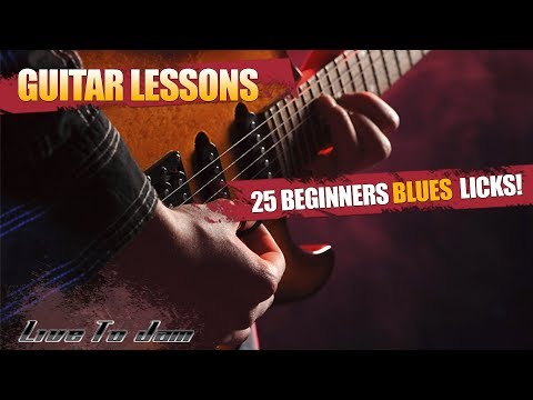 Learn How To Play Blues Guitar Lessons - 25 Beginner Blues Licks Part 1 For Beginners