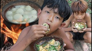 Primitive Technology - Yummy cooking baby egg ducks - eating delicious