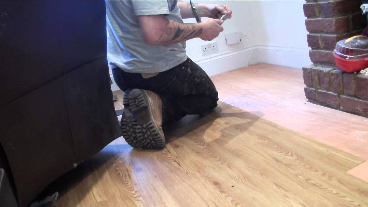Handy Hubby Hire laying Karndean wood strip flooring - YouTube