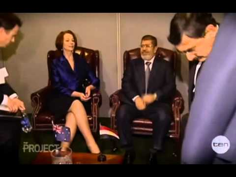 Egyptian President touches his private part on Live TV to impress Julia Gillard