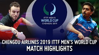 Simon Gauzy vs Sathiyan Gnanasekaran | 2019 ITTF Men's World Cup Highlights (Group)