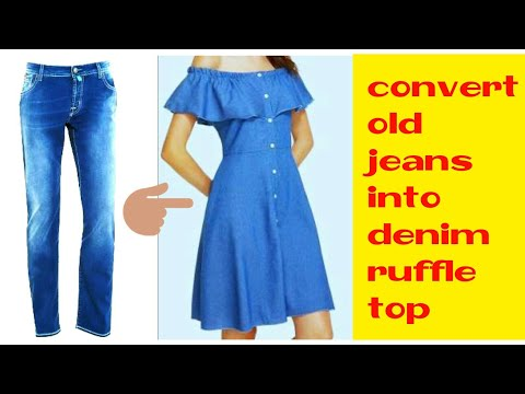 DIY : Convert jeans into Off Shoulder Ruffle Sleeve Dress