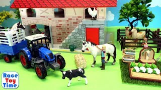 Farm Tractor and Barn For Farm Animals   Fun Toys For Kids