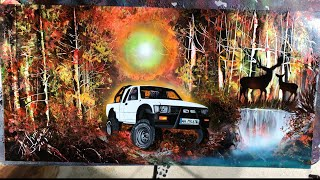 Custom painting pick up spray paint art