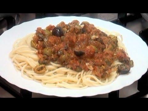 Espaguetis a la Putanesca Vídeo receta 03 aquí cocinamos todos Cooking recipe
