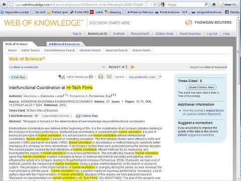 Práce s databází Web of Science