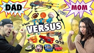 Mom vs. Dad! The Ultimate Toys/Game Battle Challenge! NERF, ANKI Overdrive, K