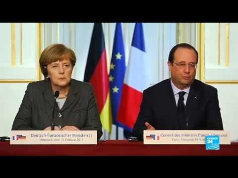 Hollande talks after meeting Angela Merkel on Ukraine sanctions