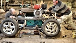 Homemade Bandsaw Mill From Old Car Wheels
