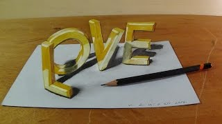 How I Draw 3D LOVE Letters, Trick Art