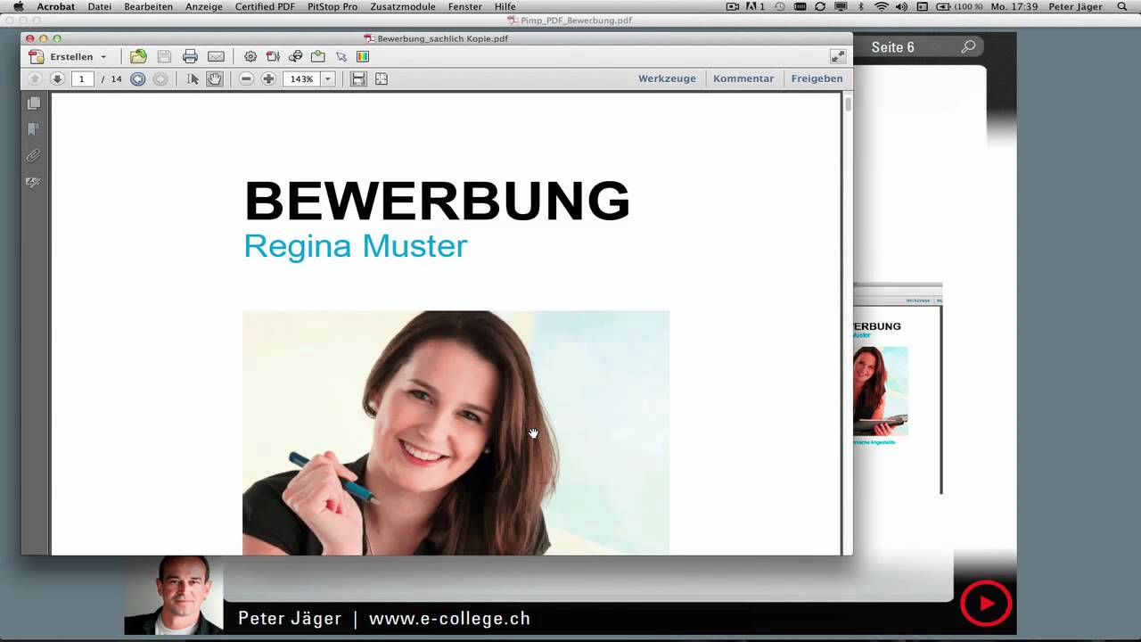 ecollege pimp deine pdf bewerbung mit acrobat x youtube. Black Bedroom Furniture Sets. Home Design Ideas