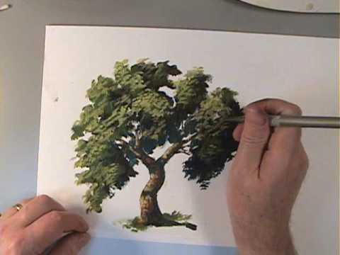 how to paint trees preview youtube. Black Bedroom Furniture Sets. Home Design Ideas