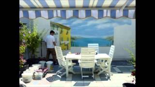 Wandmalerei mediterrane Landschaft Terassenwand