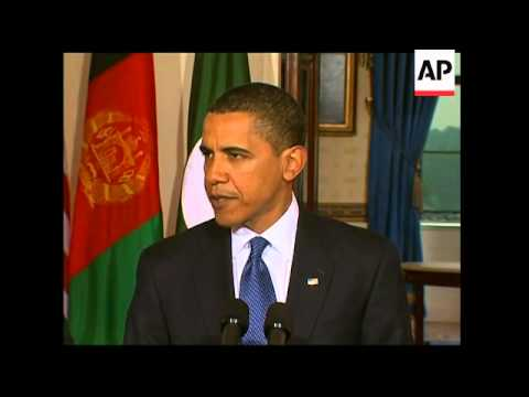 WRAP President Obama meets Presidents Karzai and Zardari ADDS Obama statement