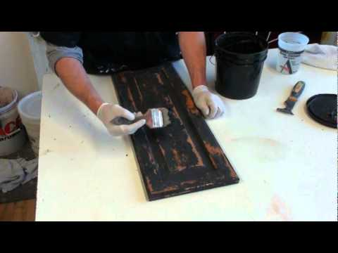 FAUX PAINTING. HOW TO CREATE A BLACK RUSTIC CABINET FINISH ...