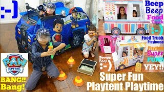 Paw Patrol Play Tent Playtime! Police Pretend Play. Food Truck Playhouse Toy Unboxing. Toy Channel