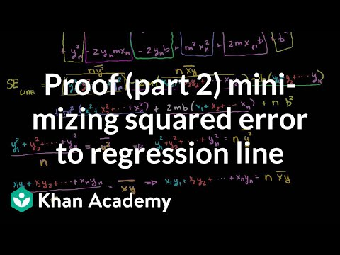 Proof Part 2 Minimizing Squared Error to Line