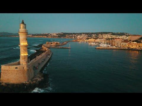 Greece Drone Chania Old venetian port 4K