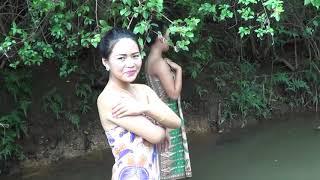 Girl Primitive Technology Showered In River