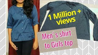 DIY Men's shirt to Girl's top| how to make girl's top from old mens shirt | Sailaja Prabhu