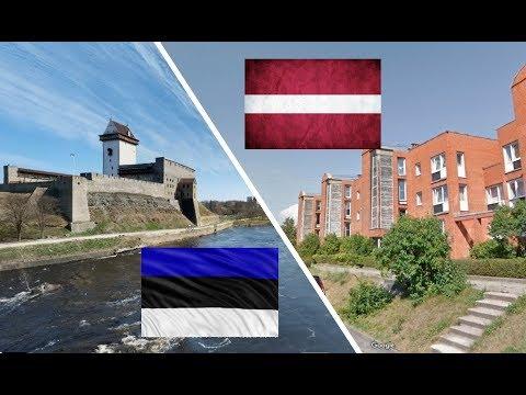 Нарва - Лиепая. Сравнение. Эстония - Латвия.