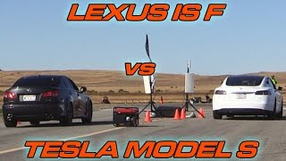 Tesla Model S vs Lexus ISF - 1/2 Mile Drag Race!