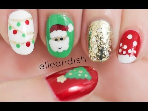 Easy Christmas Nails (Freehand)