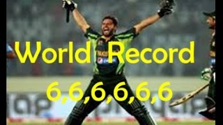 Afridi Breaks Record of Sixes ll Afridi Six Sixes 666666 in an Over !!