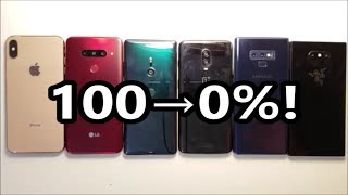 Battery Life Test! OnePlus 6T vs Galaxy Note 9, iPhone XS Max, LG V40, Xperia XZ3, Razer Phone 2