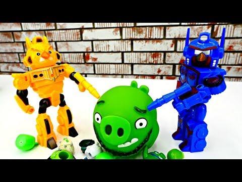 СТРЕЛЯЛКИ Энгри Бердс 😠 #Роботы бомбят СВИНЕЙ! Мультик с Игрушками Angry Birds / Игры для мальчиков