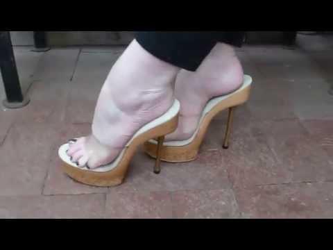 Sexy Feet In Sexy Wooden Platform Heels video