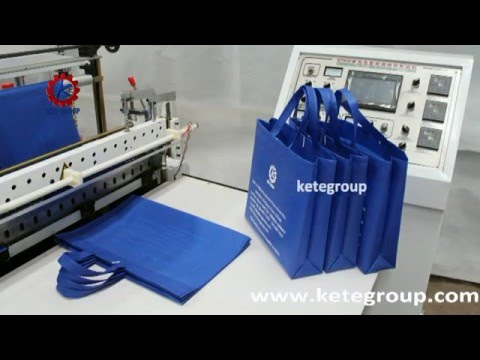 Full automatic non woven bag making machine (square bottom,soft loop handle and flat bag)
