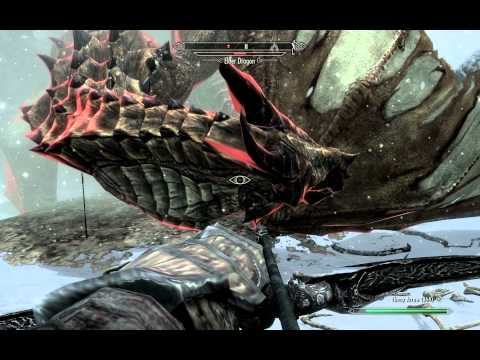 Skyrim Gameplay - Paralyzing an Elder Dragon