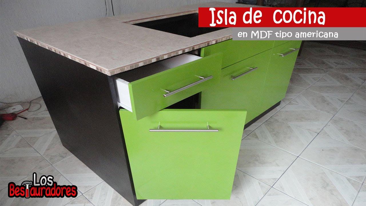 Isla de cocina en mdf tipo americana parte 1 youtube for Islas de cocina y camareras