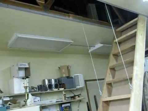 Auto Stairs Retractable Attic Loft Stairs In Garage Shop
