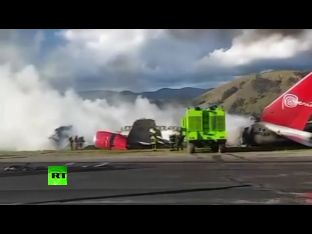 Boeing 737 bursts into flames after landing in Peru