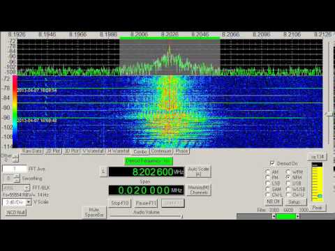 Unknown shortwave signal, Music, 8202.6 kHz, NFM mode, April 07, 2013, 1700 UTC
