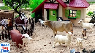 Farm Animal Toys in the sandbox - Fun Toy Pretend Play and Learning Animals Names For Kids Video