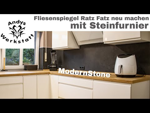 Wie geht das? Küche Fliesenspiegel schnell renovieren / erneuern mit Steinfurnier